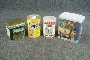 Set Of 4 Vintage Tin Cans Clabber Girl  Coffee Can  Soyalac  Boyer's Colorado