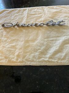 Vintage 1960s Chevrolet Script Aluminum Car Badge