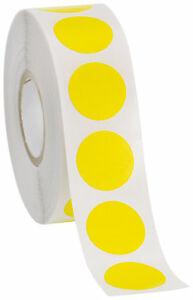 Self Adhesive Labels 3 4 Dot Circle Stickers Yellow 2000 Labels 2 Rolls Blank