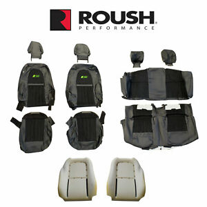 2012 2014 Mustang Convertible Roush Rs3 Front Rear Seat Upholstery Black Green