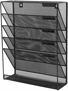 Clatina 5 Tier Wall Hanging File Organizer With Mail Letter Tray Andmagazinerack