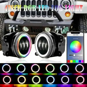 Pair 4 inch Led Fog Lights Bluetooth Rgb Halo Drl For 2007 2017 Jeep Wrangler Jk