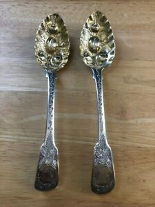English Sterling Two Berry Spoons 8 3 4