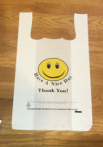Smile Face T shirt Bags White Plastic Shopping Bag Grocery Retail Carry Out Bag