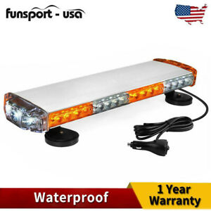 Amber White 38w Led Strobe Light 20 Mini Magnetic Roof Emergency Beacon Light
