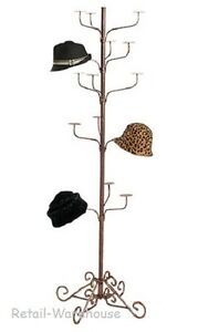 Hat Display Rack 5 tier Millinery Floor Bronze 72 Fleur De Finial Cap 15 Hats