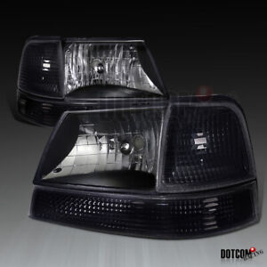 Fit 1998 2000 Ford Ranger Black Headlights turn Signal Corner Lamp