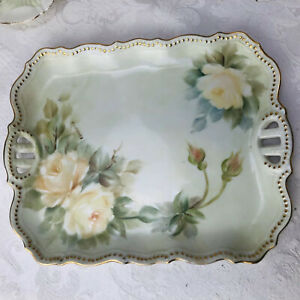Porcelain Vanity Dresser Tray Hand Painted Signed White Cabbage Roses Gilt Trim