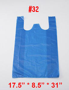 Jumbo Blue T shirt Bags Plastic Shopping Bag Portable Carry Out Toy Bag