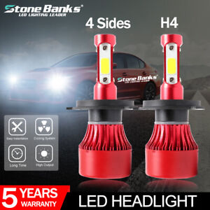2 X H4 Hb2 9003 72w 16000lm 4 sides Led Headlight High Low Beam Bulbs 6000k