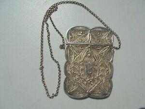 Antique Chinese Sterling Silver Filigree Cigarette Calling Card Case On Chain