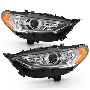 For 17 19 Ford Fusion halogen Model Projector Headlight Left right Black Lamp