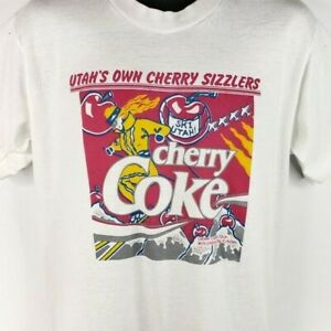 Ski Utah Cherry Sizzlers T Shirt Vintage 80s Coca Cola Made In USA Size Large