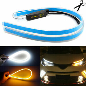 2 X 60cm Slim Amber Sequential Flexible Led Drl Turn Signal Strip For Headlight