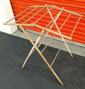 1 4 Antique Primitive Wood Drying Rack W Dowels Old Paint Hand Forged Nails
