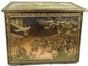 Ann Hathaway S Cottage Brass Embossed Firewood Box Large Vintage Collectible