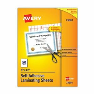 Avery Clear Self adhesive Laminating Sheets 3 Mil 9 X 12 50 box ave73601
