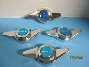 4 Caps Spinners 2 Bar Thread Mount W Blue Vintage Emblem For True Wire Wheels