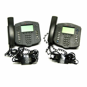 lot Of 2 Polycom 2201 11601 001 Soundpoint Ip 601 Sip Volp Phones W Stand pwr