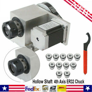 New Cnc 4th Axis Hollow Shaft Rotary Router Rotational Axis Er32 3 20mm Collet