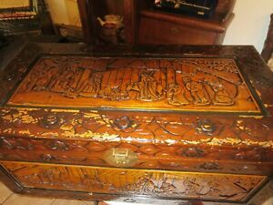 Very Rare Nativtty Antique Oriental Chinese Camphor Wood Hand Carved Chest
