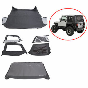 For 97 06 Jeep Wrangler Replacement Soft Top Upper Skins Black