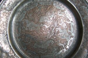 Persian Antique Copper 9 Finely Engraved Copper Tin Plate Superb
