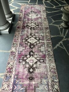 Hand Knotted Wool Rug Runner Vintage Over Dyed Turkish Oushak