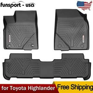 Floor Mats Liner For 2014 15 16 17 18 19 2020 Toyota Highlander Black Tpe Rubber