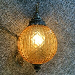 Vintage 1960 S Large Amber Glass Brass Hanging Swag Chain Lamp Light Tested