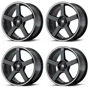 17x7 Black Machine Wheels Motegi Mr116 5x100 5x114 3 40 set Of 4