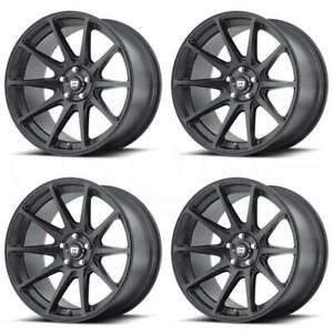 18x8 Satin Black Wheels Motegi Mr127 5x112 38 set Of 4