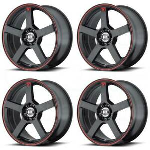 17x7 Black Red Wheels Motegi Mr116 5x112 5x114 3 40 set Of 4