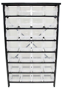 28 Bin Floor Stand Storage Parts Rack Screw Bolt Shop Garage Tool Box Organizer