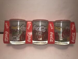 Set of 3 Coca-Cola Glasses by Luminarc 1997 Pattern Rainbow New Old Stock France