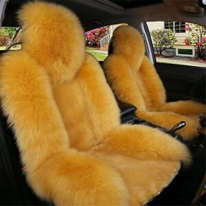 Fuzzy Car Seat Cover Wool Warm Universal Sheepskin Fur