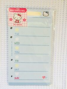 2 Packs Hello Kitty Day Planner Weekly Agenda Refill Paper Fits Lv Mm A6