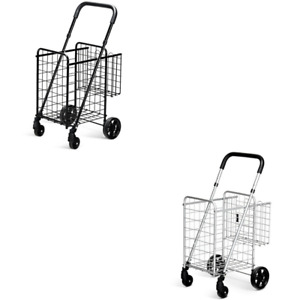 Shopping Cart Double Basket Folding Rolling Trolley Adjust Handle Swivel Wheels