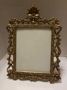 Vintage Solid Brass Victorian Style Easle Back Picture Frame 8 X 10