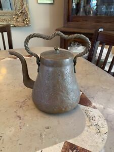 Antique Copper Bronze Coffee Tea Pot Finely Engraved Leaf Pattern