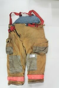 46x28 Globe Brown Firefighter Turnout Bunker Pants W Suspenders High Back P0162