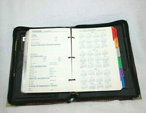 Vtg Maroon Leather Compact Planner Organizer 1996