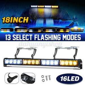 18 16 Led Car Roof Windshield Emergency Hazard Warning Flash Strobe Light Bar