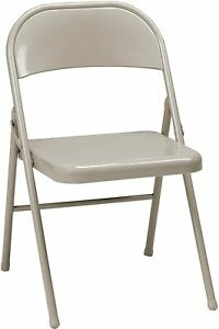 Meco 4 pack All Steel Folding Chair Buff Frame