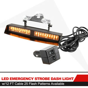 Led Emergency Strobe Dash Amber Light W 12ft Cable 25 Flash Patterns Available