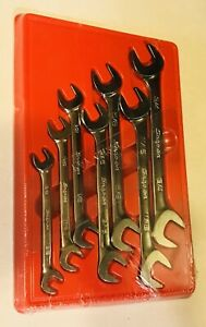 Snap On 7pc Sae Flank Drive Plus 4 Way Ange Head Open End Wrench Set Svs807a