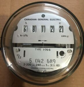 Ge Electric Watthour Meter kwh Type I 70s Ez Read 240v 200a Canada Made