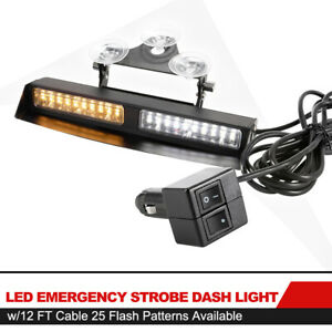 Led Emergency Strobe Dash Amber White Light W 25 Flash Patterns 12ft Cable