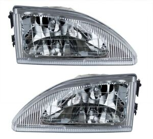1994 1998 Ford Mustang Cobra Stock Headlights Clear W Chrome Housing Pair