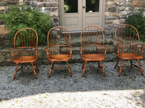 Set 4 Orig Dr Dimes Country Bow Back Arm Chairs Plank Seats Dining Kitchen C1990